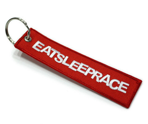 Eat Sleep Race: Embroidered Keychain - Red - Syndicate Auto Salon
