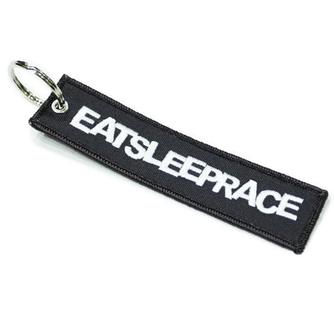 Eat Sleep Race: Embroidered Keychain - Grey - Syndicate Auto Salon