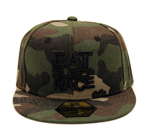 Eat Sleep Race: Logo Team Snapback Hat - Full Camo - Syndicate Auto Salon