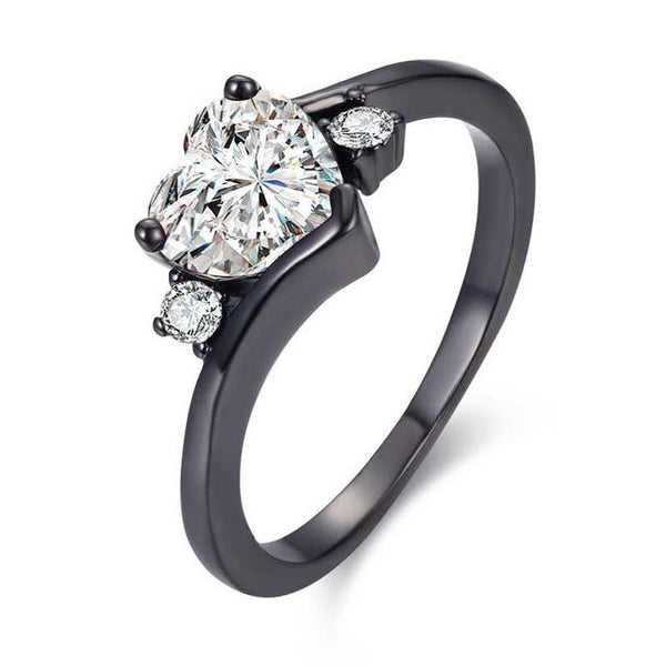 Black Zirconia Heart Ring