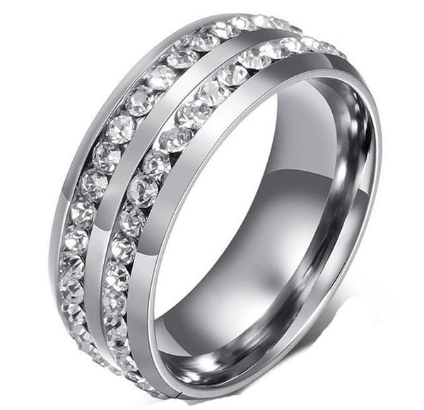 Double Cubic Zirconia Centered Ring Discounted