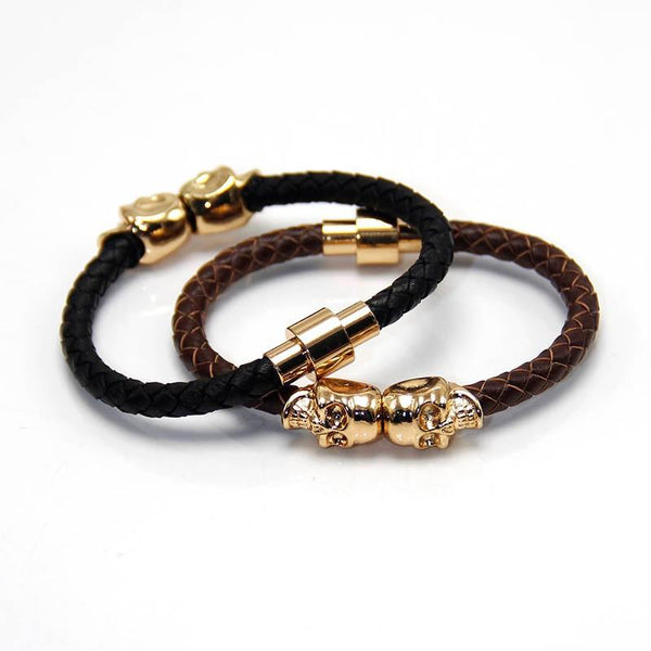 Twin Skull Leather Bracelet