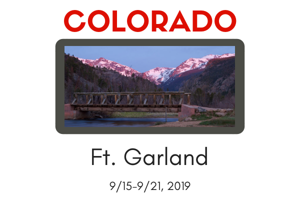 WORKSHOP DEPOSIT-Ft Garland, CO 9/15-9/21, 2019