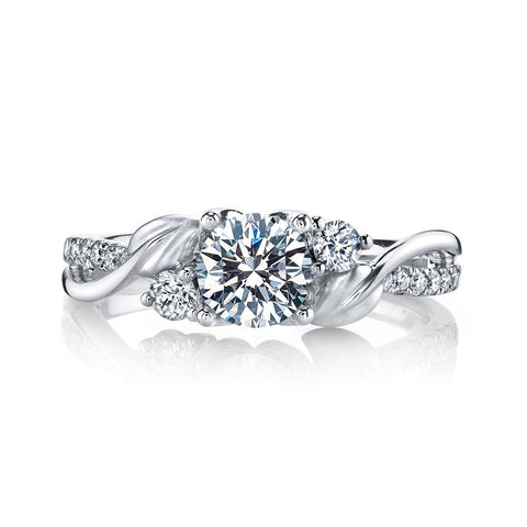 Sterling Silver 1CT Zircon Leaf Style Engagement Ring