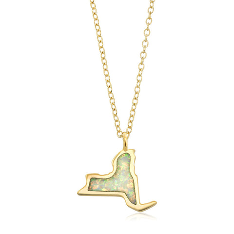 Gold Plated Sterling Silver State Of New York Opal Necklace