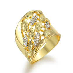 Bold Statement Rhinestones Leaf Ring