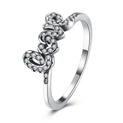 Sterling Silver Cubic Zirconia Love Ring - Jewel Volt