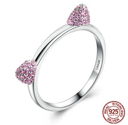 Cute Cubic Zirconia Cat Ears Silver Ring