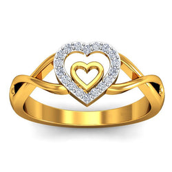 9K Yellow Gold Heart Moissanite Rings - Jewel Volt