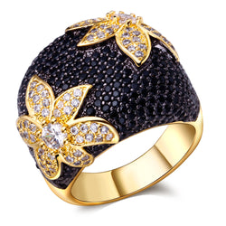 Gold Plated Black and White Floral Cubic Zirconia Statement Ring - Jewel Volt
