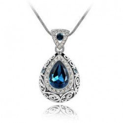 September Birthstone Crystal Waterdrop White Gold Necklace - Jewel Volt