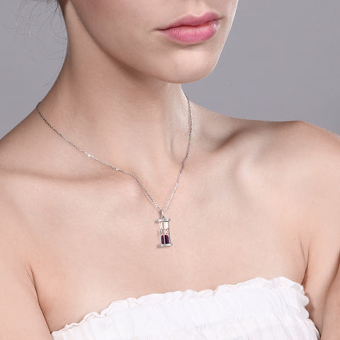 Sterling Silver Ruby Hourglass Necklace