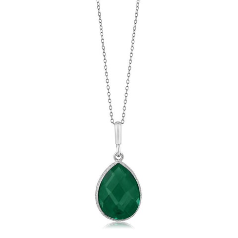 Sterling Silver Green Onyx Necklace
