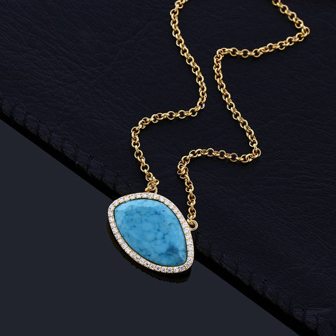 Gold Plated Sterling Silver Turquoise With Cubic Zirconia Necklace