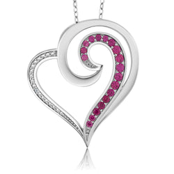 Sterling Silver Ruby Heart Shaped Necklace