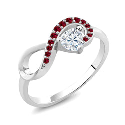 Ruby & Moissanite Heart Infinity Sterling Silver Ring
