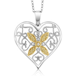 Two Tone Diamond Heart Necklace