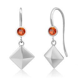 Sterling Silver Orange Sapphire Drop Earring - Jewel Volt