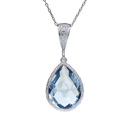 Sterling Silver 6.2CTW Aquamarine Pear Shaped Necklace