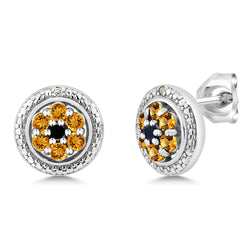 Sterling Silver Yellow Sapphire with Diamond Stud Earring - Jewel Volt