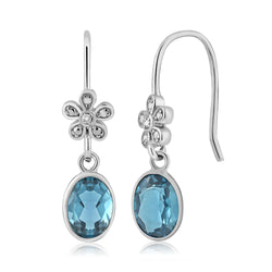 Blue Topaz Sterling Silver Dangle Earrings - Jewel Volt