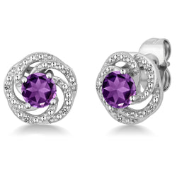 February Amethyst Flower Sterling Silver Stud Earring - Jewel Volt