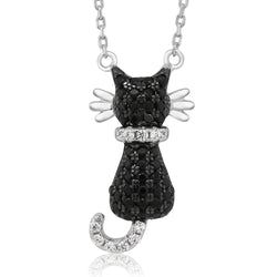 Sterling Silver Zircon Black Cat Necklace