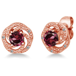 Rose Gold Plated Flower Garnet Stud Earrings - Jewel Volt