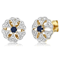 18K Yellow Gold Plated Blue Sapphire & Diamond Sterling Silver Earrings - Jewel Volt