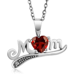 Sterling Silver Red Garnet Mom Necklace