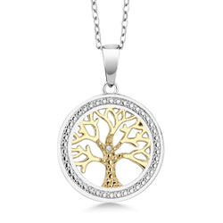 Sterling Silver Two Tone Diamond Tree Of Life Necklace