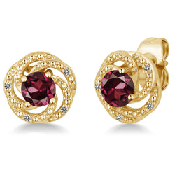 Yellow Gold Plated Flower Garnet Stud Earrings - Jewel Volt