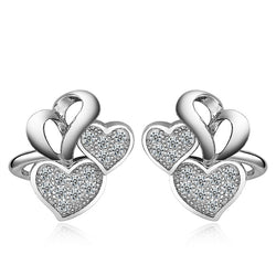 Sterling Silver Hollow Double Heart Cubic Zirconia Stud Earrings - Jewel Volt