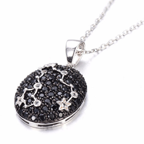 Sterling Silver Black Spinel & White Topaz Pisces Necklace