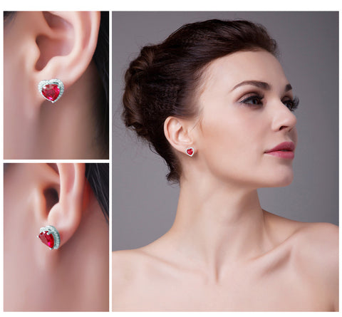 4ct Red Ruby Heart Stud Earrings - Jewel Volt