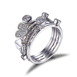 Heart Sterling Silver Cubic Zirconia Stacking Rings - Jewel Volt