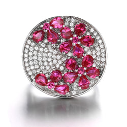 Red Ruby Flower Statement Cocktail Ring - Jewel Volt