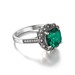 2.2ct Square Green Emerald Sterling Silver Ring - Jewel Volt