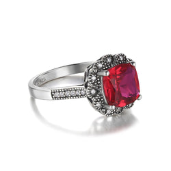 3.4ct Red Ruby Sterling Silver Ring - Jewel Volt