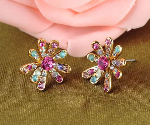 Crystal Flower Stud Earrings Multicolor Austrian - Jewel Volt