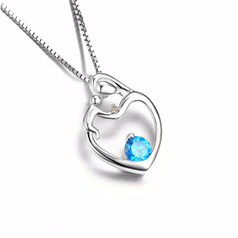 Mother & Child Blue Topaz Heart Pendant - Jewel Volt
