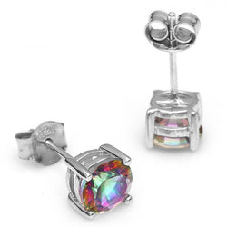 2.1ct Mystic Rainbow Topaz Round Earring - Jewel Volt