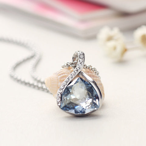 Blue Crystal Waterdrop Necklace - Jewel Volt