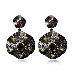 Black Cubic Zirconia Floral Copper Statement Gold Plated Earring - Jewel Volt