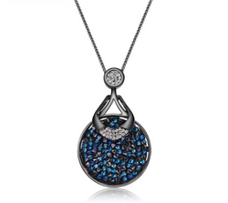 Round Blue Crystal Pendant Necklace - Jewel Volt