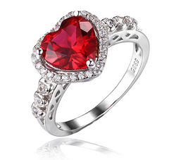 Gorgeous 2.7ct Red Ruby Ring Heart - Jewel Volt