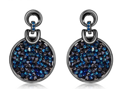 Round Blue Crystal Dangle Earring - Jewel Volt