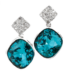 Dark Blue Crystal Sterling Silver Drop Earring - Jewel Volt