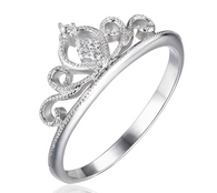 Sterling Silver Zircon Crown Ring - Jewel Volt