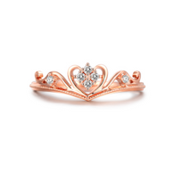 Sterling Silver Rose Gold Plated Cubic Zirconia Crown Ring - Jewel Volt